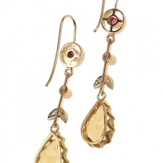 14 ct. Gold Earrings with Citrine, Ruby & Diamonds Art déco Germany ca. 1920