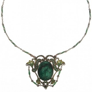 Gold-plated Silver Necklace with Malachite & Enamel Art nouveau France ca. 1900