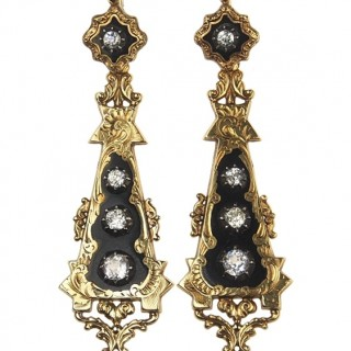 18 ct. Gold Earrings with Enamel & Rock crystal Victorian France approx. 1840