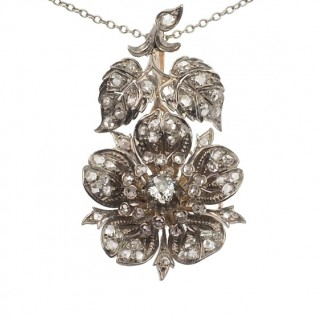 18 ct. Gold & Silver Pendant with Goldchain, Diamonds set in silver, from the Netherlands approx. 1840 Victorian