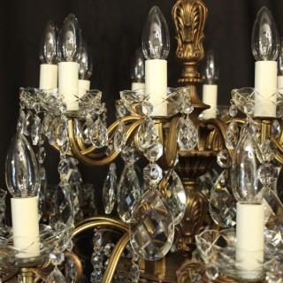 Italian Gilt Bronze 20 Light Antique Chandelier