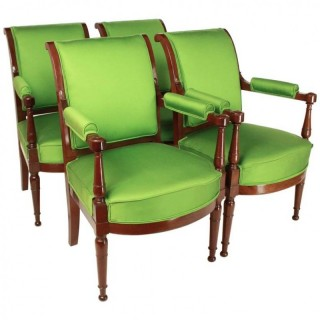 Set of four Directoire Neoclassical Fauteuils/Armchairs in the Manner of Henri Jacob, ca. 1795