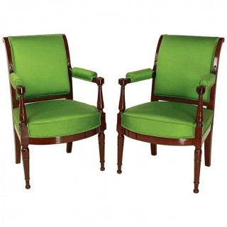 Pair of Directoire Neoclassical Mahogany Armchairs/Fauteuils in the Manner of Henri Jacob, ca. 1795