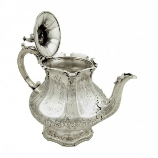 Antique Early Victorian Sterling Silver Teapot 1847