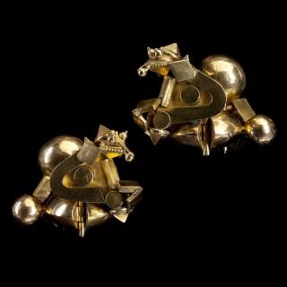 A Pair of Gold Tamil Nadu Ear Ornaments Pambadam