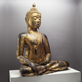 SEATED THAI BUDDHA  - Gilded and Lacquered Bronze