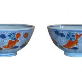 Kangxi Pair of Doucai Bowls