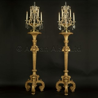 A Pair of Louis XIV Style Giltwood Torcheres With Six-Light Girandoles