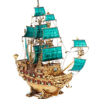 ANTIQUE 20thC Austro-Hungarian MONUMENTAL SOLID SILVER GILT & EMAMEL NEFF GALLEON SHIP c.1900