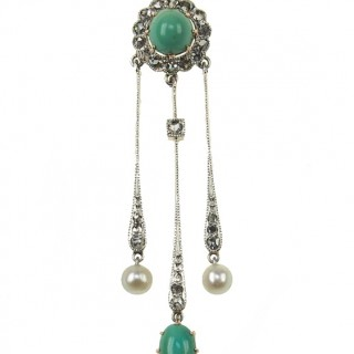 14 ct. Gold / Platinum Pendant Diamonds, Turquoises & Pearls Art nouveau Germany ca. 1910