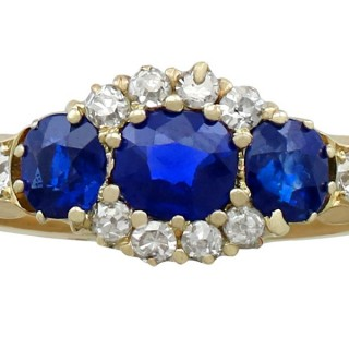1.50ct Sapphire and 0.35ct Diamond, 18ct Yellow Gold Dress Ring - Antique Circa 1900
