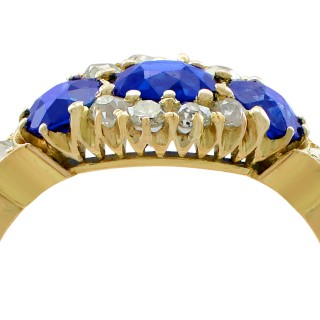 1.50ct Sapphire and 0.35ct Diamond, 18ct Yellow Gold Dress Ring - Antique Circa 1900