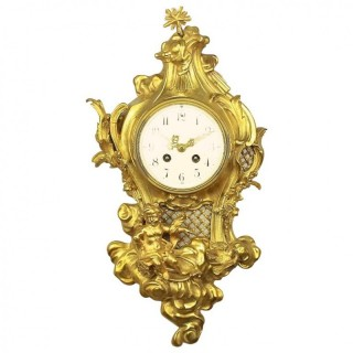 French 19th Century Louis XV Style Cartel Clock after a Model by Philippe Caffieri