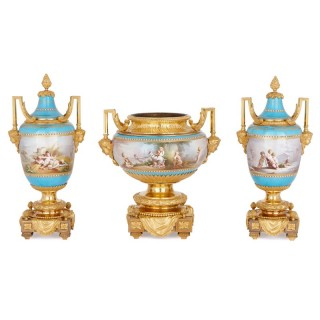 Sèvres porcelain garniture, mounted in gilt bronze by Picard