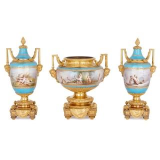 Sèvres porcelain garniture, mounted in gilt bronze by Picard