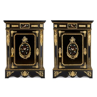 Two ebonised wood, pietra dura and gilt bronze cabinets