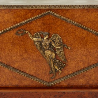 Burr-amboyna, marble, gilt and patinated bronze cabinet by Maison Krieger