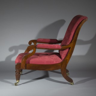 Large Regency Library Armchair attributed to Gillows