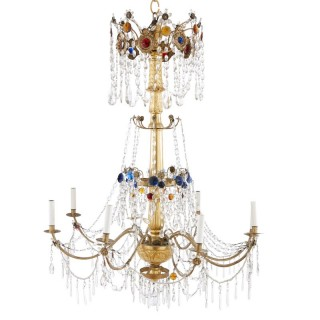 19th Century giltwood, brass and multicoloured cut glass chandelier