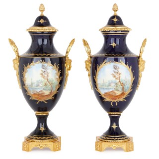 Two Sèvres style porcelain and gilt bronze vases