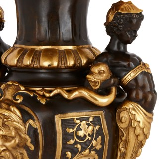 Neoclassical style patinated and gilt bronze vase