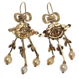 18 ct. Gold Earrings with Diamonds & 6 Natural pearls France approx. 1870