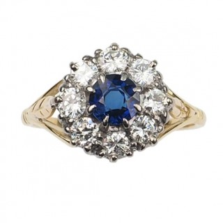 18 ct. Gold & Platinum Ring / Engagement ring with Sapphire & Diamonds, an Art déco Sapphirering from England approx. 1920