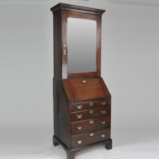 Narrow Red Walnut Bureau Bookcase