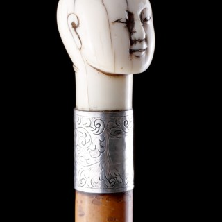 Victorian Silver Mounted Malacca Walking Cane with a Carved Ivory Knop depicting the head of a Chinaman