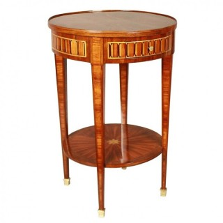 Small Louis XVI Style Marquetry Side Table or Gueridon