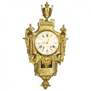 18th Century Louis XVI Wall or Cartel Clock à la Grècque, signed