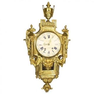 18th Century Louis XVI Wall or Cartel Clock à la Grècque, signed