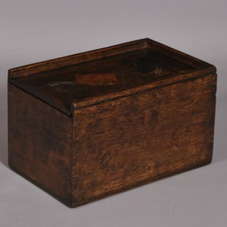 Antique Treen 19th Century Oak Sailor's Box