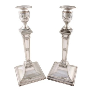 Pair of Silver Plated Adam's Style Candlesticks