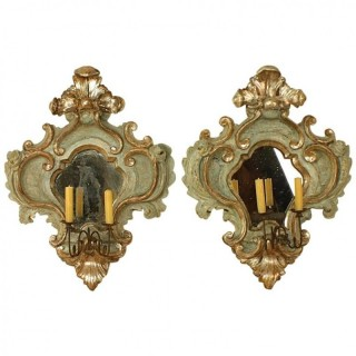 Pair of Italian Mid-18th Century Baroque Painted and Silvered Sconces or Wall Lights