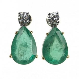 18 ct. Gold Vintage Earrings with Emerald drops & Diamonds approx. 1960s