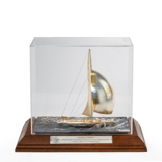 A cased silver and gilt model of 12 Meter America's Cup yacht Stars & Stripes 87