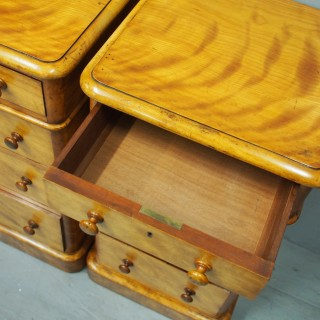 Pair of Mid Victorian Satin Birch Bedsides