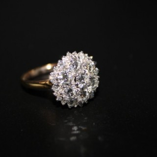 18ct Yellow Gold & Platinum 3.65ct Diamond Tiered Cluster Ring, Circa 1970