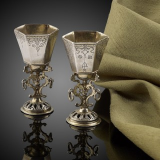 Engraved silver and parcel gilt cups German c.1630