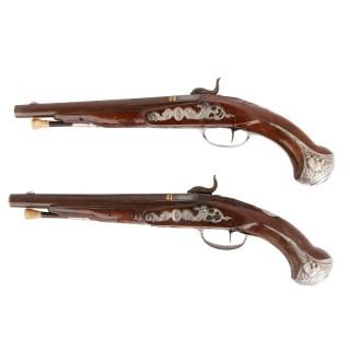 Two 18th Century flintlock pistols by Jalabert-Lamotte