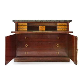 French Empire period mahogany, marble and gilt bronze cabinet