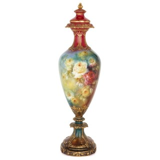Monumental floral porcelain vase by Royal Bonn