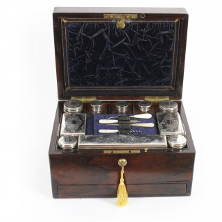 Antique Victorian Rosewood & Sterling Silver Travelling Dressing Case 1861 19thC