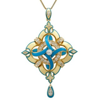1.90ct Diamond and Enamel, 18ct Yellow Gold Pendant - Antique Victorian