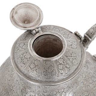 19th Century Indian silver samovar teapot