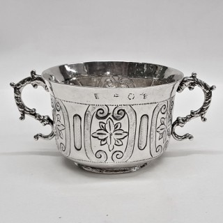 Antique Commonwealth Period Silver Porringer