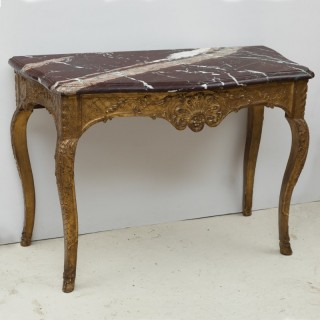 LOUIS XV MARBLE TOPPED GILTWOOD CONSOLE TABLE