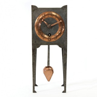 Arts & Crafts Pewter and Copper Clock