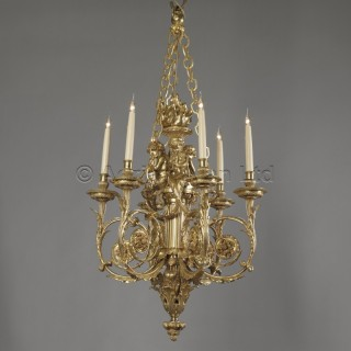 A Louis XVI Style Gilt-Bronze Cherub Six-Light Chandelier